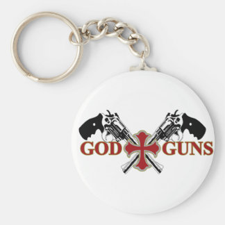 God And Guns Basic Round Button Key Ring