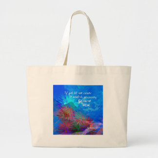 God and Voltaire in a blue sky. Large Tote Bag