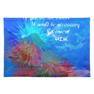 God and Voltaire in a blue sky. Placemat