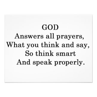 GOD ANSWERS ALL  PRAYERS PERSONALIZED ANNOUNCEMENT