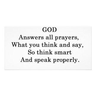 GOD ANSWERS ALL  PRAYERS PHOTO CARDS