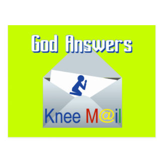 God Answers Knee Mail Gift Postcard