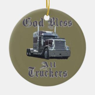 God Bless All Truckers Ceramic Ornament