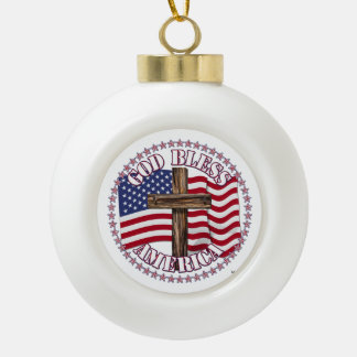 God Bless America and Cross With USA Flag 50 Stars Ceramic Ball Decoration