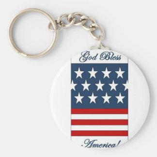 God_Bless_America Basic Round Button Key Ring