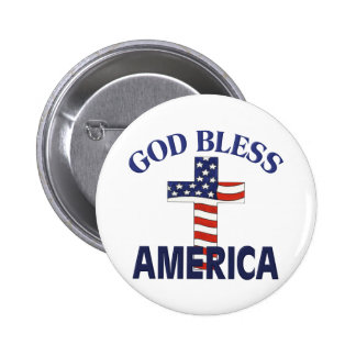 God Bless America Cross 6 Cm Round Badge