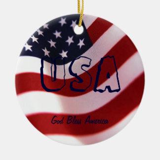 God bless America Christmas Ornament