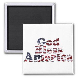 God Bless America Flag Text Design Refrigerator Magnet