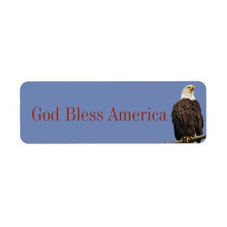 God Bless America label w/ eagle