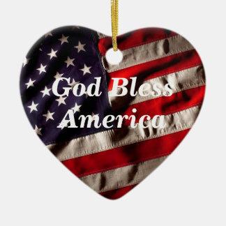 God Bless America, Land That I Love Flag Ceramic Heart Decoration