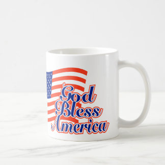 God Bless America over us flag coffee cup