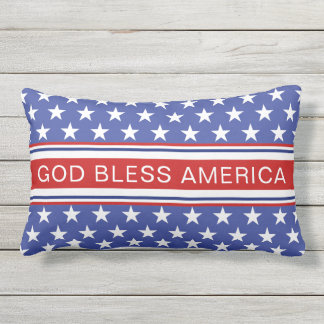 God Bless America Patriotic Red White and Blue Lumbar Cushion