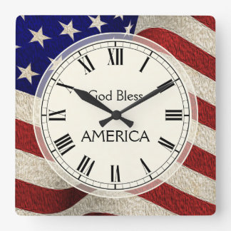God Bless America Patriotic Vintage Flag Square Wall Clock