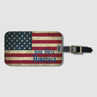 God Bless America, Red White Blue, Stars & Stripes Luggage Tag