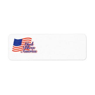 God Bless America return address label