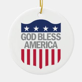 God Bless America Round Ceramic Decoration