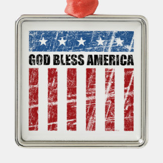 God Bless America Silver-Colored Square Decoration