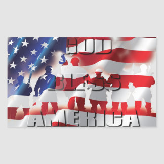 God Bless America Soldiers and the Flag Patriotic Rectangular Stickers