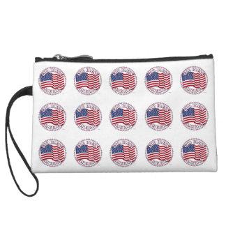 God Bless America With USA Flag 50 Stars Wristlet Purse