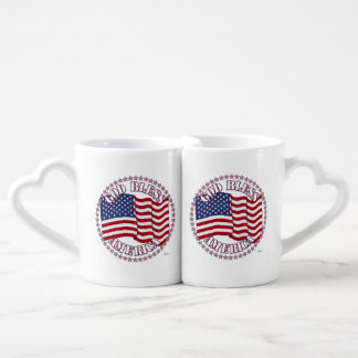 God Bless America With USA Flag 50 Stars Lovers Mugs