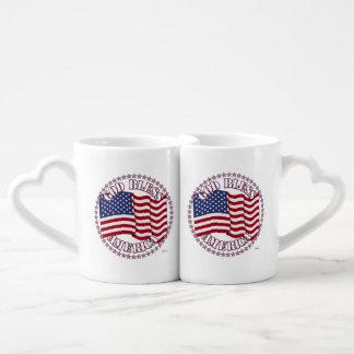 God Bless America With USA Flag 50 Stars Lovers Mugs