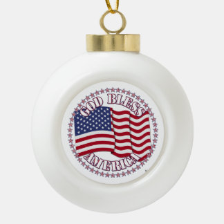 God Bless America With USA Flag And 50 Stars Ceramic Ball Decoration