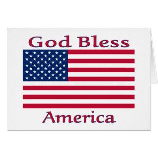 God Bless American Flag Card