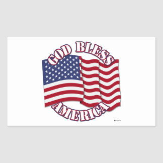 God Bless American with USA Flag Stickers