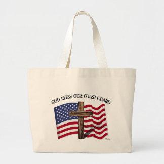 GOD BLESS COAST GUARD with rugged cross & US flag Bags