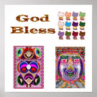GOD BLESS    : Frogs, Jester,  Philospher Poster