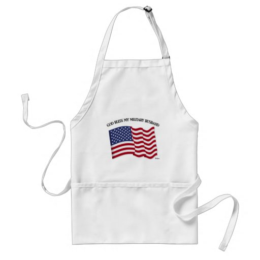 GOD BLESS MY MILITARY HUSBAND with US flag Aprons