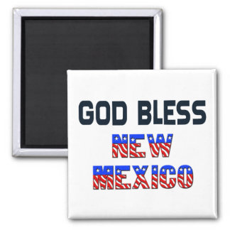 God Bless New Mexico Square Magnet
