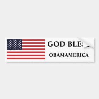 GOD BLESS, OBAMAMERICA CAR BUMPER STICKER