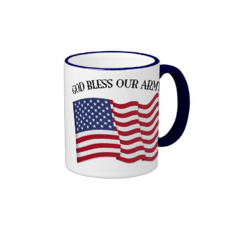 GOD BLESS OUR ARMY with US flag Ringer Mug