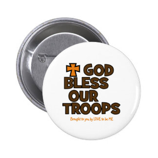GOD BLESS OUR TROOPS PINBACK BUTTON