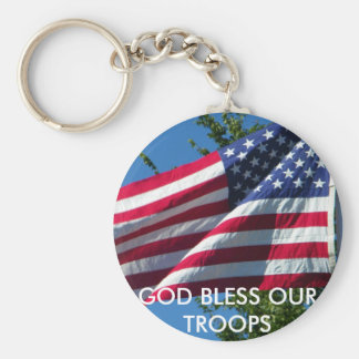GOD BLESS OUR TROOPS BASIC ROUND BUTTON KEY RING