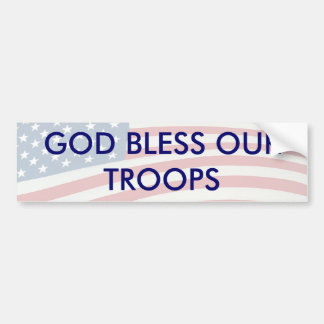 GOD BLESS OUR TROOPS BUMPER STICKER