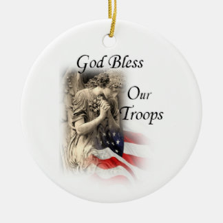 God Bless Our Troops Praying Angel with US Flag Ceramic Ornament