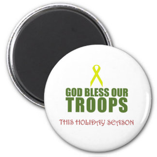 God Bless Our Troops This Holiday Season Magnets