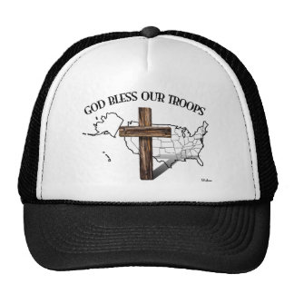 God Bless Our Troops with rugged cross & US outine Hats