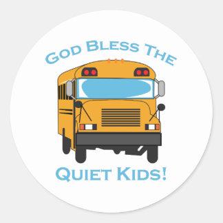 GOD BLESS QUIET KIDS ROUND STICKERS