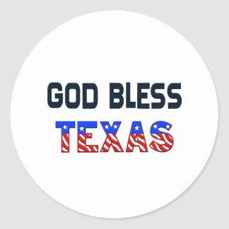 God Bless Texas Round Stickers