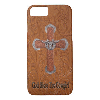 God Bless The Cowgirl Leather iPhone 7 case