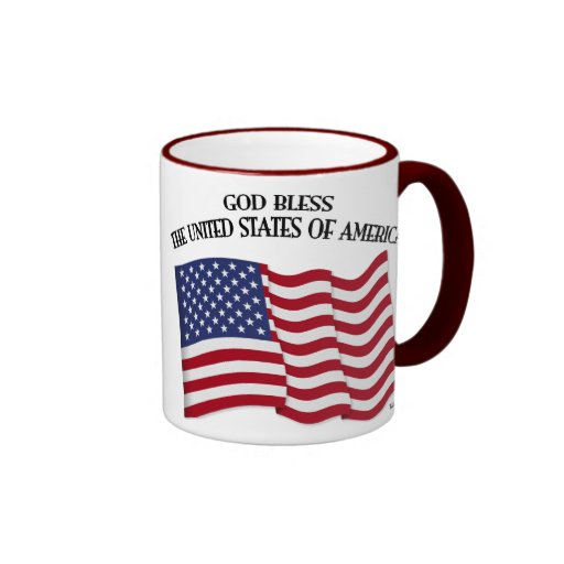 GOD BLESS THE UNITED STATES OF AMERICA US flag Mugs