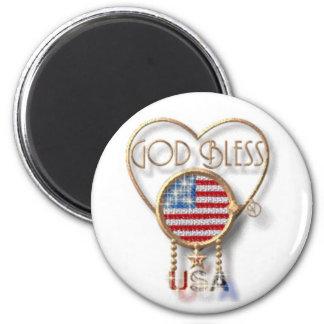 God Bless the US 6 Cm Round Magnet