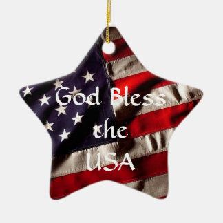 God Bless the USA American Flag Star Ceramic Star Decoration
