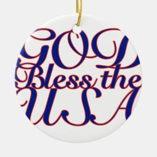 God Bless the USA Ceramic Ornament