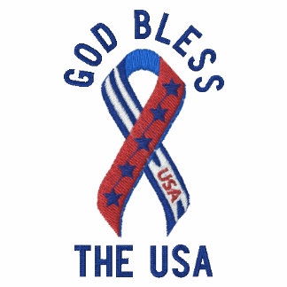 God Bless the USA Patriotic American Embroidered Polo Shirts
