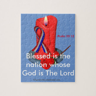 God Bless the USA Ribbon Jigsaw Puzzle