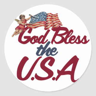 God bless the USA Round Stickers
